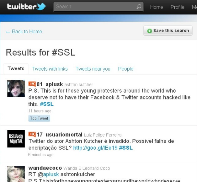 Ahston Kutcher Hacked Tweet Being Promoted in Twitter Search