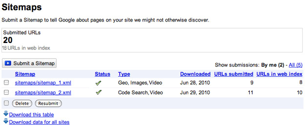 Google lets you upload various content types in sitemaps